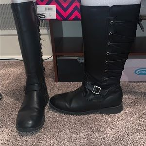 Girls high black boots